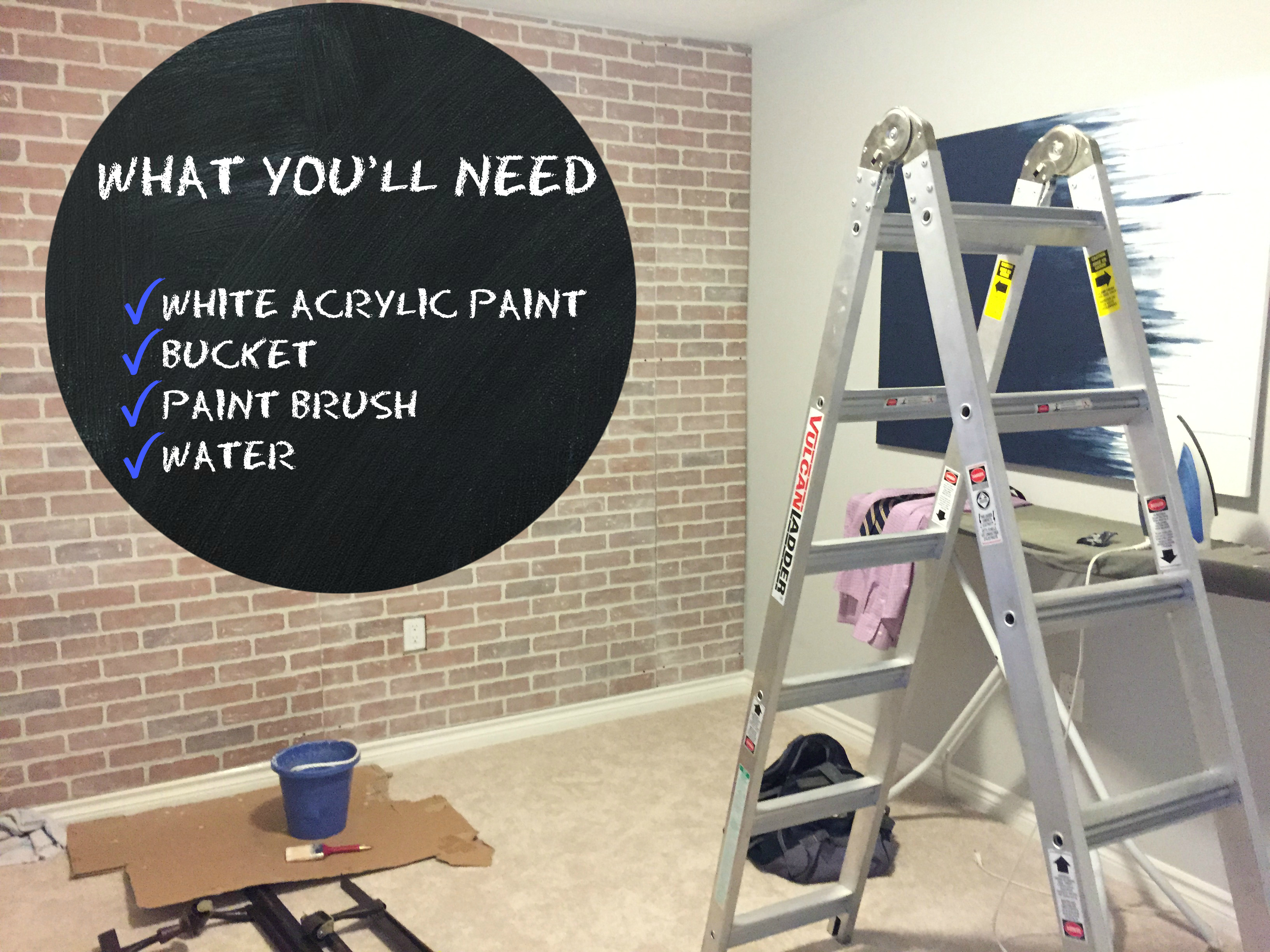 Painting Fake Brick Paneling White Wash Faux Brick Jaclyn Colville
