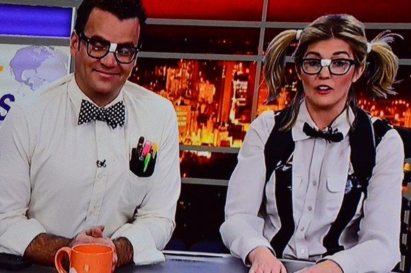 Jaclyn Colville and Tim Bolen dress us as Nerds for Halloween