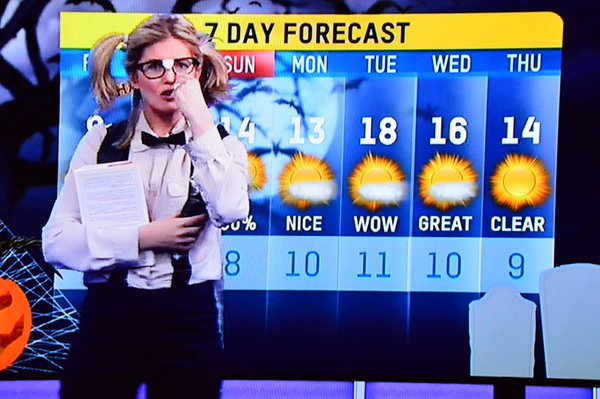 Jaclyn Colville on CHCH News dressed up in a Nerd Costume for Halloween